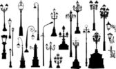Twenty five street lamps — Stock Vector