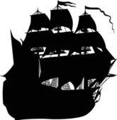 Big black sailer on white — Stock Vector