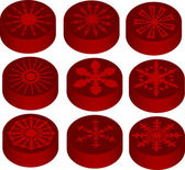 Nine red snowflake icons — Stock Vector