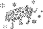 Snowflake tiger — Stock Vector