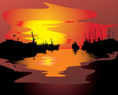 Boats and its reflections at sunset — Vettoriale Stock