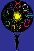 Strology planet symbols — Stock Vector