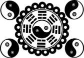 Yin and yan symbols illustration — Stock Vector