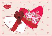 Roses et coeurs roses — Vecteur