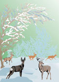 Color winter landscape with deers — Stock Vector