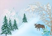 Elk v zimním lese — Stock vektor