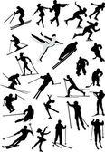 Vintern idrottsmän på vit — Stockvektor