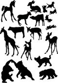 Animal baby silhouettes — Stock Vector