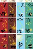 Four zodiac elements — Stock Vector