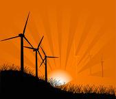 Gün batımında Rüzgar türbinleri — Stok Vektör