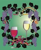 Glases in vine frame — Stock Vector