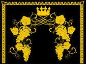 Gold vine frame design — Stock Vector