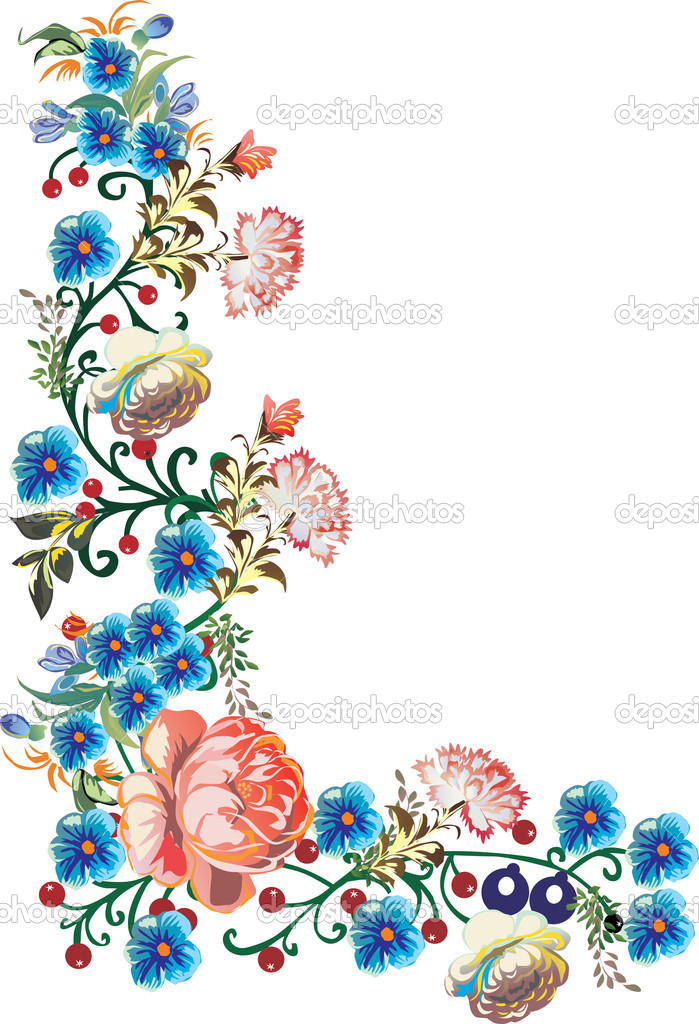 blue flowers corner illustration � stock vector 169 drpas