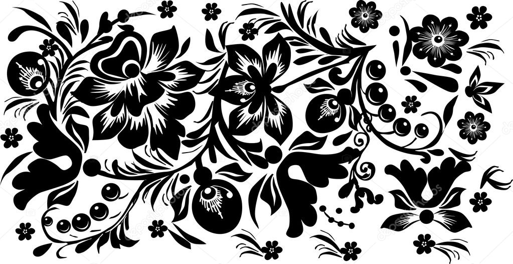 Black design with berries and flowers stock vector dr for Black design images