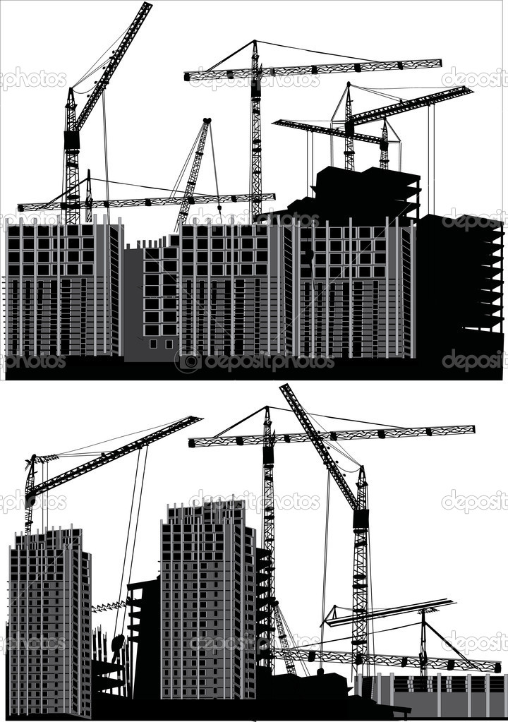 Illustration with house building and cranes — Stock Vector #6327401