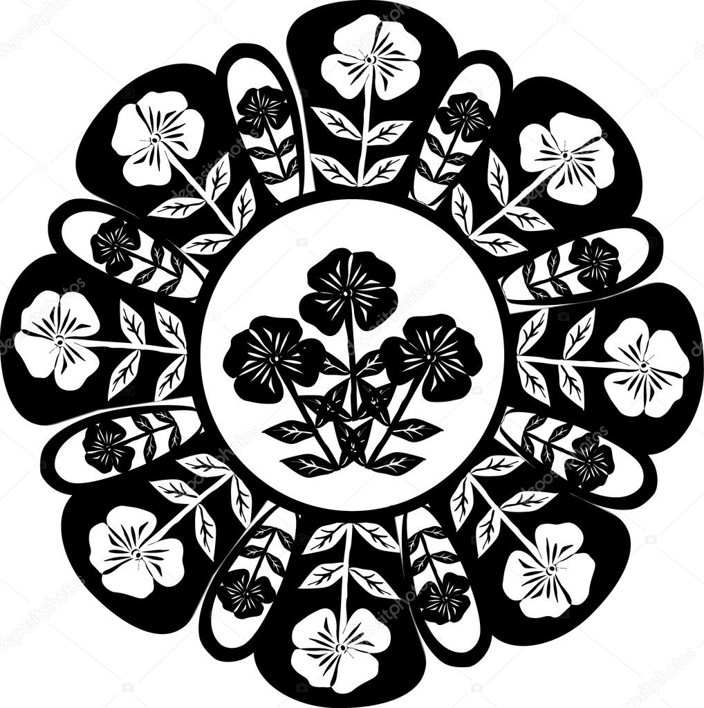 Flower black decoration on white background  Stock Vector #6327873