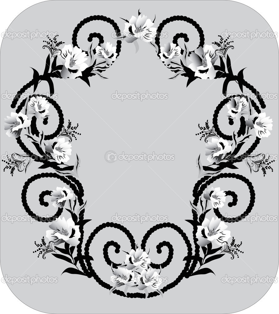Flower Frame Black And White With Black And White Frame