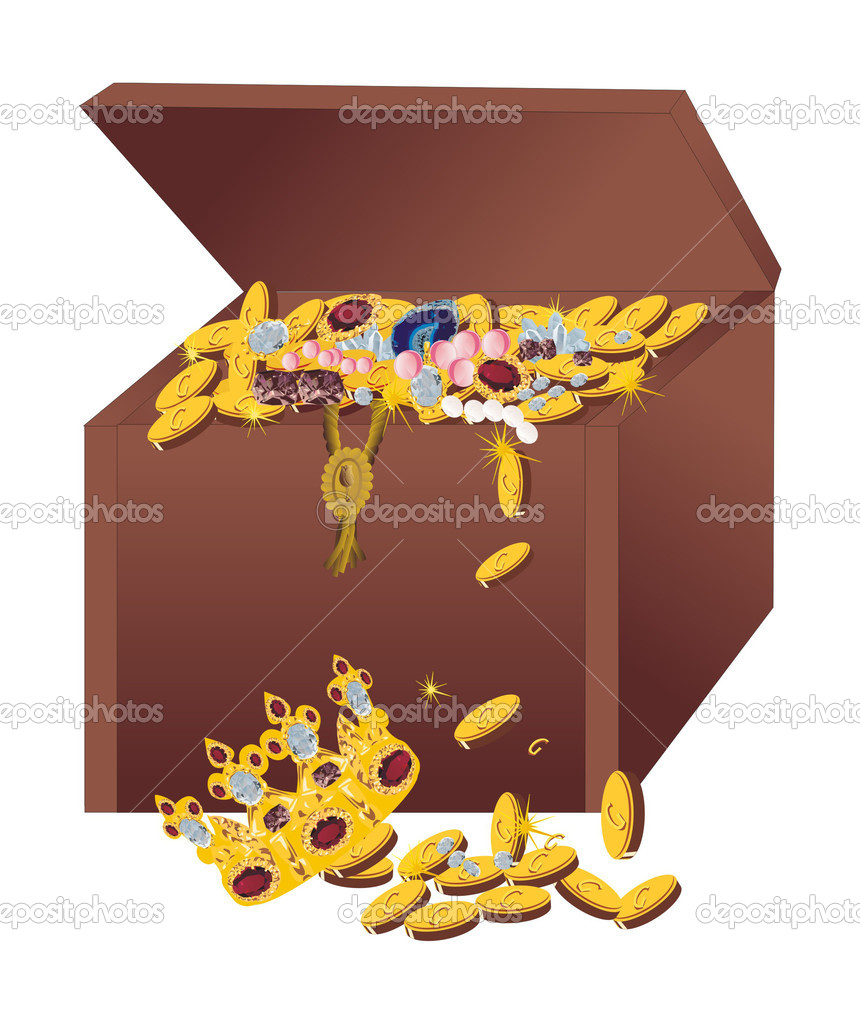 Illustration with brown chest and gold valuable — Stock Vector #6328136