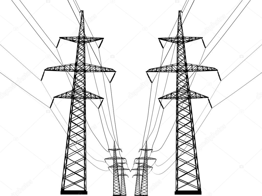 Ilustration with high-voltage line isolated on white background — Stock Vector #6328196