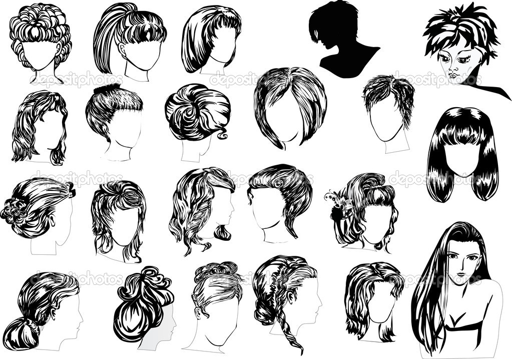 Vinte e dois penteados de mulher � Vetor de Stock � Dr.PAS #6328200