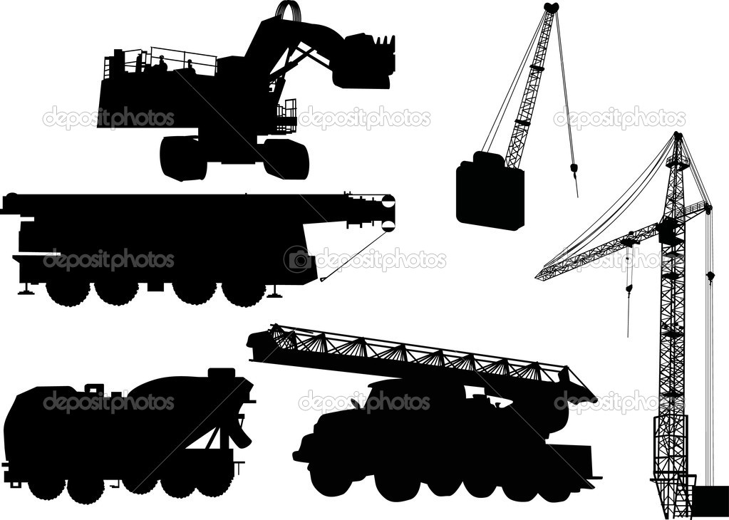 Illustration with heavy machinery silhouettes isolated on white background — Stock Vector #6328338