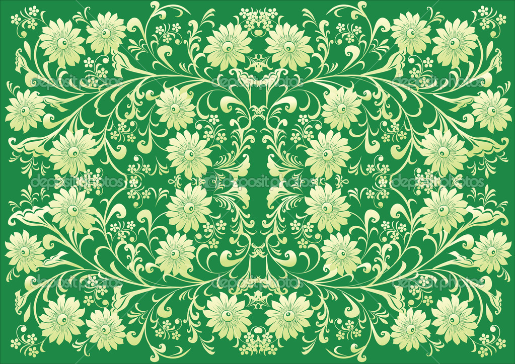 Illustration with green flower symmetrical background — Stock Vector #6328481