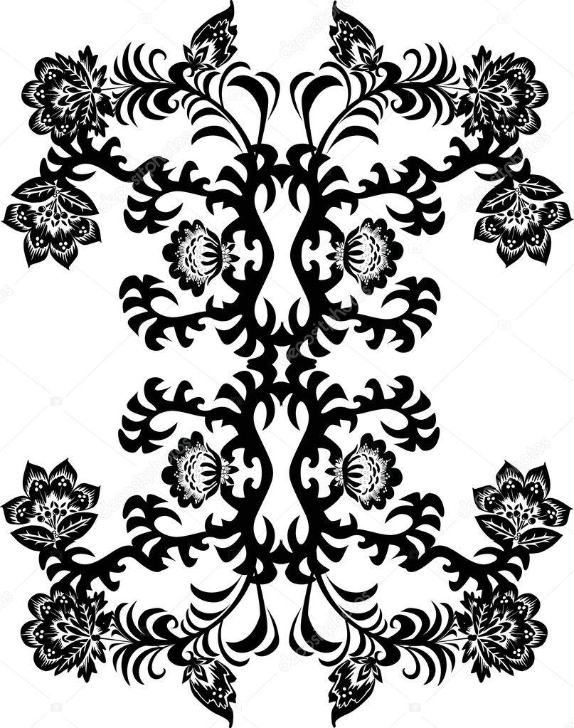 Easy Black And White Flower Design With Black on White Flower