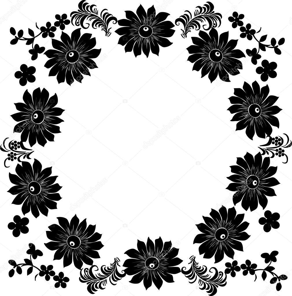 Flower Frame Black And White Large Black Flower Frame