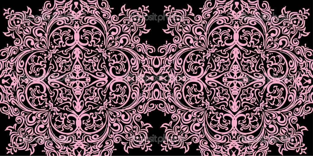 Pink curled ornament on black background — Stock Vector #6328667