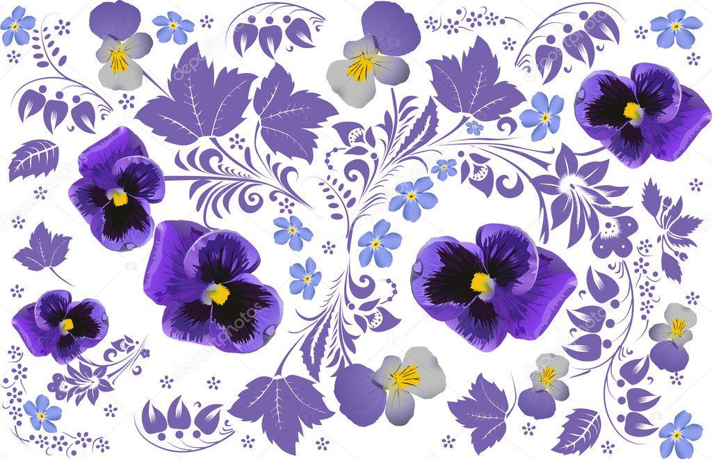 白底紫色花朵设计 — 图库矢量图片 #6328689