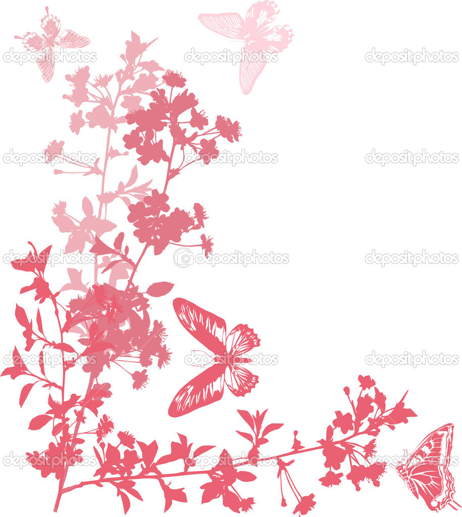 Pink cherry flowers with butterflies stock illustration