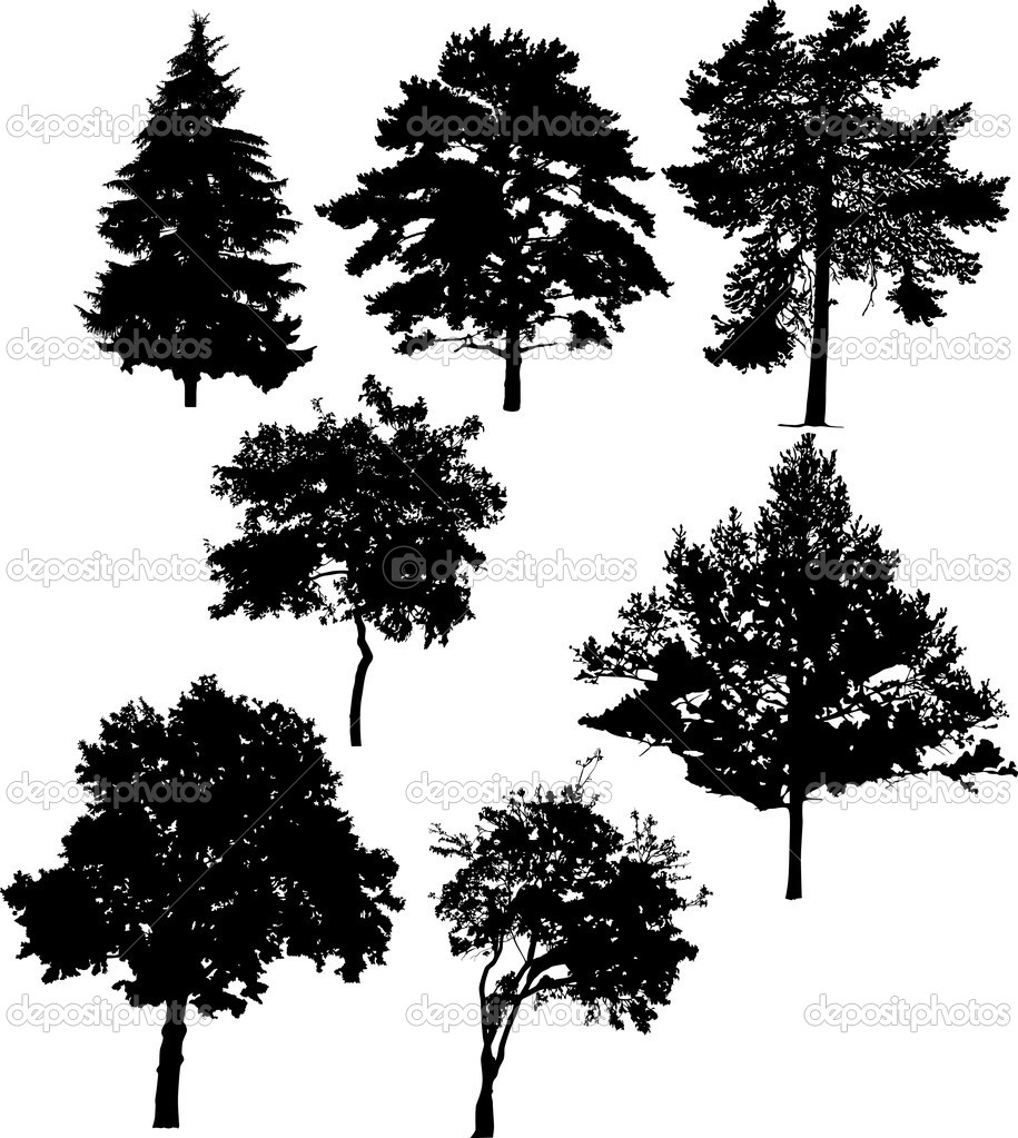 Illustration with seven tree silhouettes isolated on white background — Stock Vector #6329330