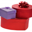 Lilac and red boxes — 图库照片