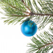 Single blue christmas tree decoration — Stock Photo