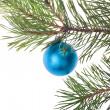 Single blue christmas tree decoration — Stock Photo