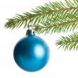 Single blue christmas tree decorations — Stock Photo
