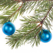Stock Photo: Two blue christmas tree decorations
