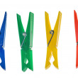 Four color clothes-pegs — Stock Photo