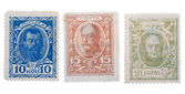 Old Russian postage stamps with emperors — Stock Photo