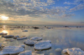 Winter sea with ice-floes — Stock Photo