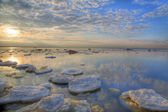 Ice-floes under sunset — Stock Photo
