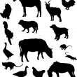 Set of farm animals silhouettes — Stock Vector
