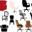Set of different chairs on white — Stock Vector