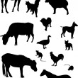 Stock Vector: Farm animals silhouette collection