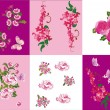 Set of pink flowers decorations — Stock Vector #6415691