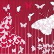Butterfly red background — Stock Vector