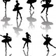 Stock Vector: Seven ballet dancers with reflection