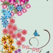 Flowers and four blue butterflies - Stock Vector