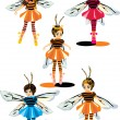 Girls in bee costumes — Imagen vectorial