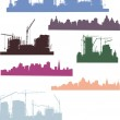 Large set of cities silhouettes — Stock Vector #6415899